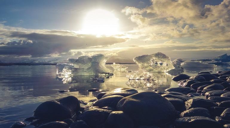 photo of melting sea ice